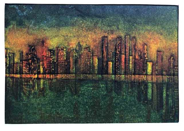 Australia's Black Summer, by Pam Edwards. A print depicting a cityscape with haze from bushfires in the background.