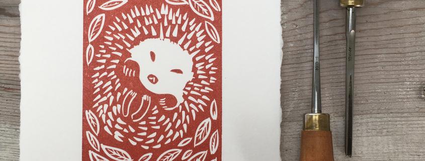 Hedgehog linocut print by Michelle Hughes