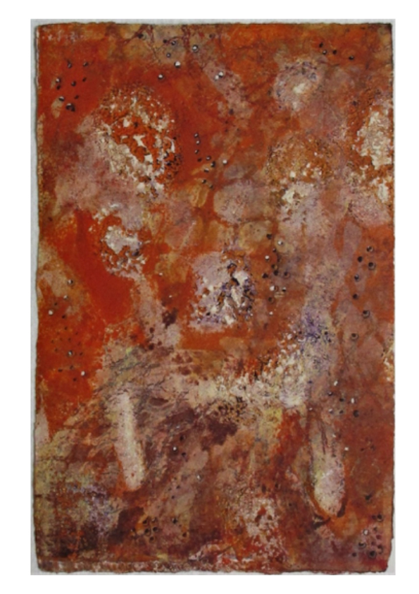 Fire, by Janice Simpson. An abstract print with fiery colours