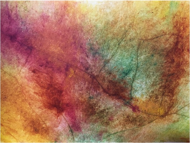 October, by Russell Hughes (monoprint). An abstract print with autumnal colours.