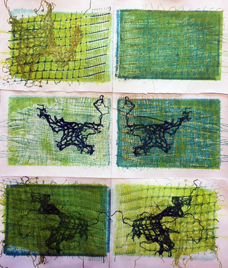 Frayed Edges, by Chrissie Dell. Six abstract prints on the theme of frayed edges.